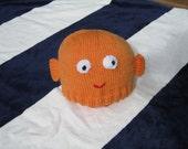 Orange fish hat, soft pure wool, children's. Steve Sashimi