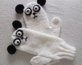 Panda mittens, black and white soft pure wool, kawaii for  children