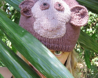 Monkey hat animal beanie, soft pure wool, medium female adult's