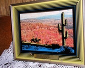 Vintage Glass Shadowbox Advertisement, Grand Canyon Scene, Retro1950s