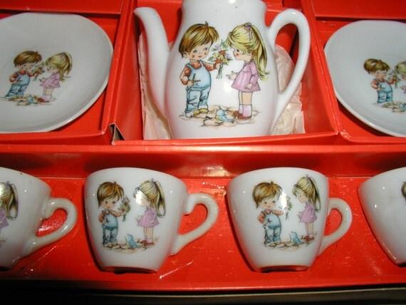Vintage Toy China Tea Set w/Box 13 Piece Set