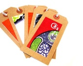Set of 5 fabric design gift tags