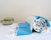 Organic Beach Bath Towel Peshtemal From Turkish Hamams Turquoise Blue And Cream Ivory With Stripes Ideal For Travellers Natural