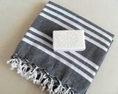 Turkish Bath Towel Black With White Stripes Organic Beach Bath Towel Traditional Peshtemal Natural Towel