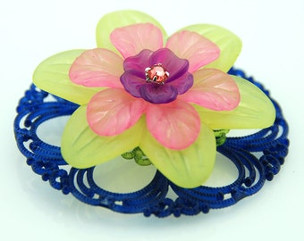 Vintage Lucite Flower Pendant Teal