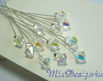 12 x Swarovski 8mm Clear AB Crystal Stem for Wedding Bouquet Flower / Floral Pick or Cake Topper / Centerpieces Decoration