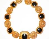 Vintage Retro CHIC Black Enamel Gold Tone Necklace Heavy Quality