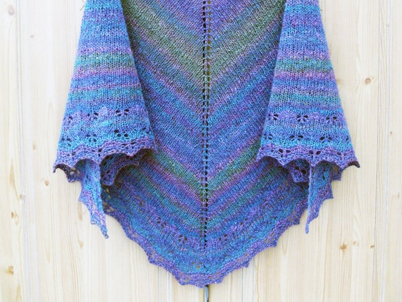 Shawl Handdyed Handspun Knitted Shetland Tussah Silk