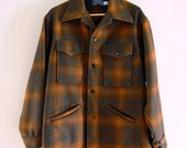 Vintage Mens Pendleton Wool Jacket Coat Brown Rust Black and Grey Heavy Unlined Wool Fall or Winter Coat Jacket Chest 50