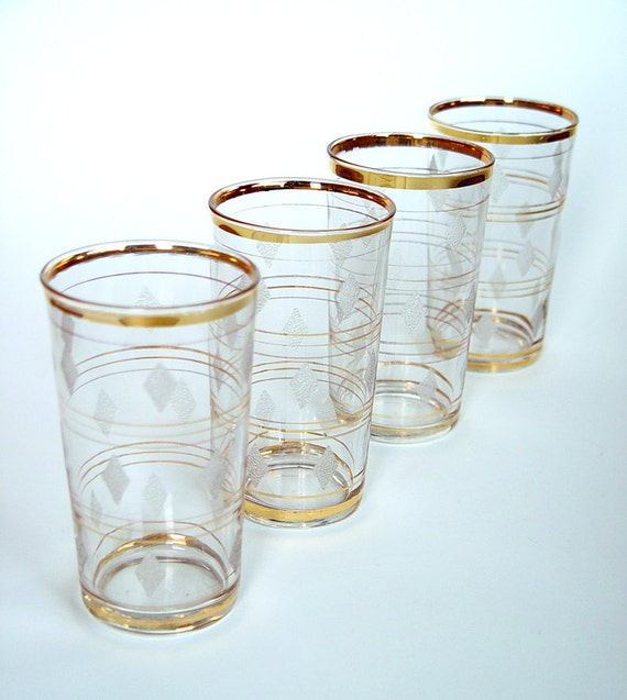 Mid Century Frosted Diamonds Glasses Tumblers Gold Rings Etched Diamonds 9 ounce Barware Glassware Vintage 1950s Set of 4