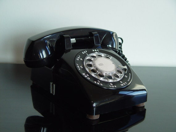 Vintage Telephone Black ITT Model 500 1960s Rotary Telephone Henry Dreyfuss Mad Men Era Classic Desktop Office Supply
