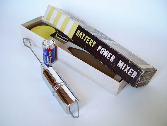 Vintage Cocktail Mixer 1950s Bi-Cor Battery Power Stainless Steel Hand Held Bar Blender Mid Century Modern Housewares