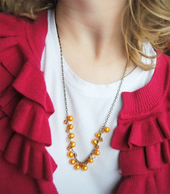 Yellow Pearl and Crystal -necklace-