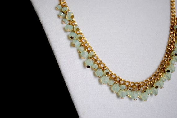 Necklace - Green Opal Swarovski Crystal  on a Gold Chain -
