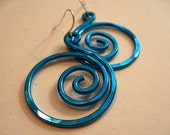 Blue Aluminum Spiral Earrings