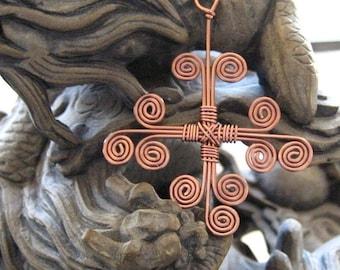 Cross Swirled Wirework Antique Copper Cross
