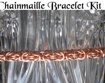 Chainmaille Bracelet KIT with Instructions -- Byzantine Weave Non Tarnish Copper