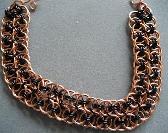 Copper and Black Double Helm Bracelet