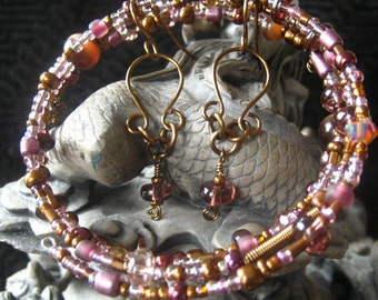 Beaded Memory Wire Vintage Bronze and Rose Lavendar Plum Bracelet and Earring Set