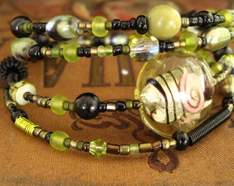 Beaded Memory Wire Bracelet Multi Strand Peridot and Black Wrapped Bracelet