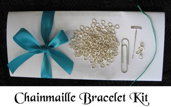 Silver  Byzantine Weave Tutorial KIT Chainmaille Bracelet KIT