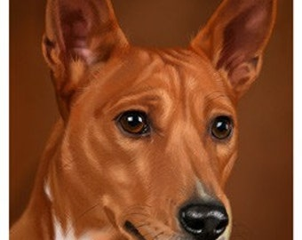 avald Basenji 01 Art Print on Watercolor Paper