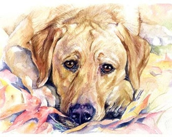 avald Yellow Labrador Lab Art Print of Watercolor