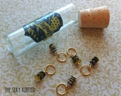 Hufflepuff Sequined Stitch Markers - set of 5 for your knitting project bag