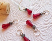 Red/Grey Teardrop Stitch Markers for Knitting - set of 5