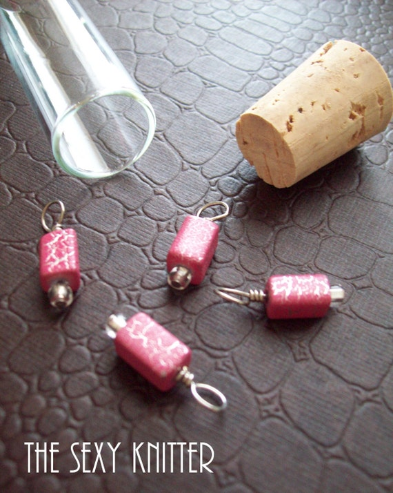 LAST SET SALE! Pink Crackle Stitch Markers - Set of 4 for your knitting project bag