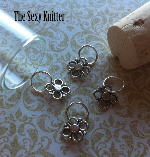 Silver Floral Knitting Stitch Markers - Set of 4 for your project bag