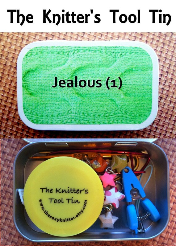 Jealous: The Knitter's Tool Tin altered altoid tin for your knitting project bag