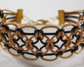 Black and Gold Leather Macrame Bracelet