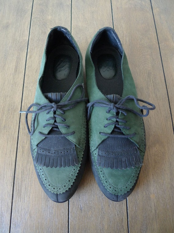 SALE Vintage Suede Leather Oxford, Black and Green , Women Size 8.5 or 9M US