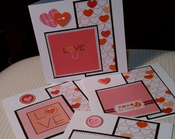 Set of 4 Large Square Valentines
