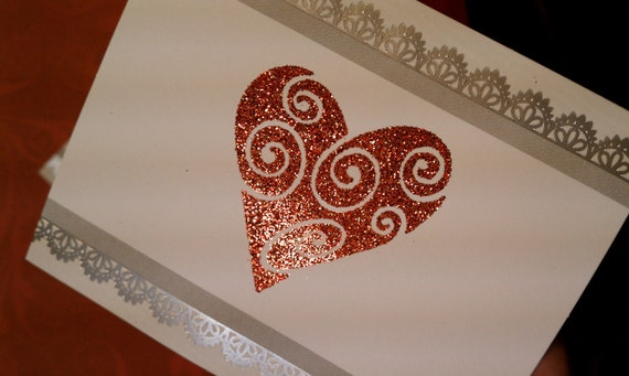 Embossed Glitter Heart Wine Sticker Label with White Edging