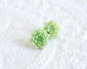 Mint Green Lotus Flower Blossom Post Earrings