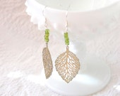 Filigree Leaf Vintage Charm Earrings with Green Glass Accent Beads