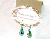 Vintage Style Peacock Green and Turquoise Blue Drop Crystal Earrings