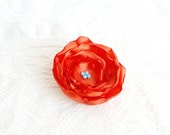 Luxe Flower Hair Clip in Tangerine and Turquoise