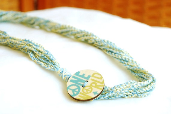 100% Cotton Crochet Necklace with One World Wooden Button Closure