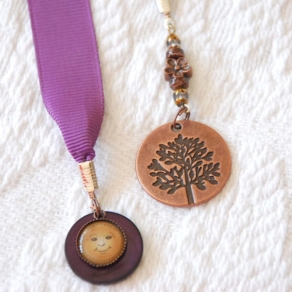 Bookmark featuring Bronze Tree Pendant and Sun Charms