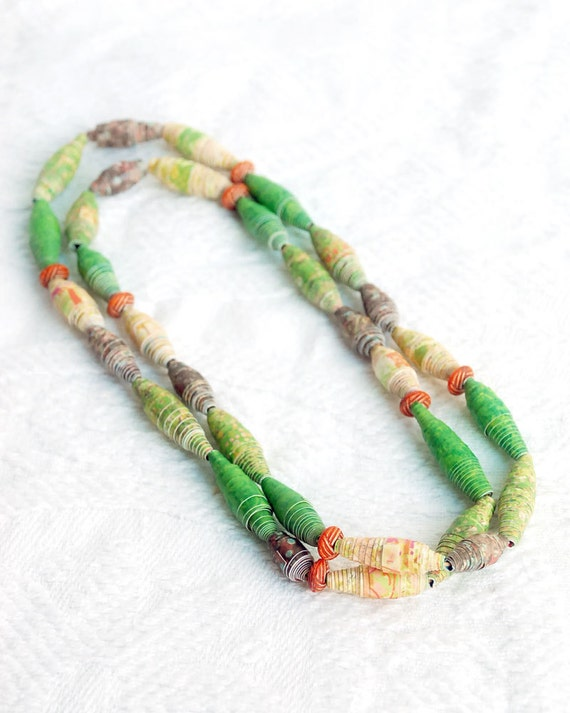 Hand Rolled Paper Necklace in Pantone Fall Colors French Roast, Titanium, Bright Chartreuse and Honey Gold
