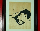 Tim McGraw Wall Hanging Portrait Handcrafted from Baltic Birch Plywood