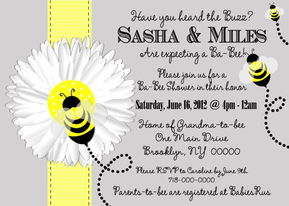 mom to bee baby shower invitation bee baby shower invitation, Baby shower invitations