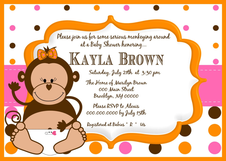 little monkey girl baby shower invitation little monkey baby