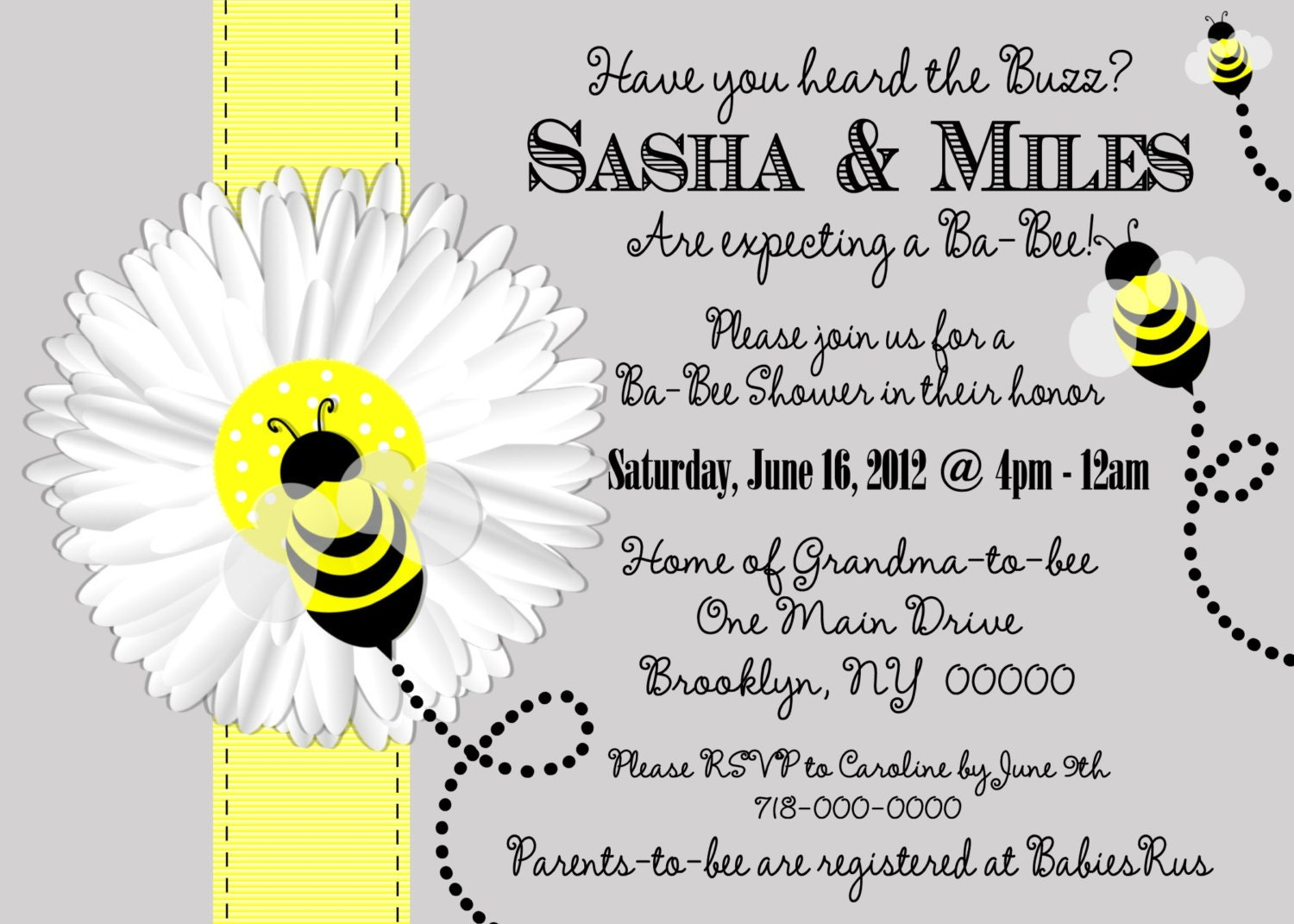 mom to bee baby shower invitation bee baby by thepartyfavordiva