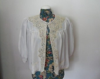 1930's Lingerie, Bed Jacket Silk & Lace, Miss Ritz Tag