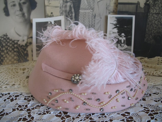 Vintage Early 1950's Topper Hat-Pink Rhinestones Pearls-Cocktail Hat