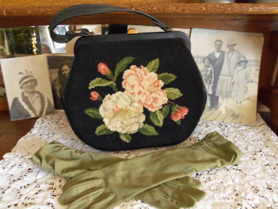 1940's Purse- Needlepoint Floral with Matching Long Gloves